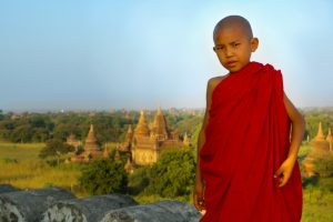 A young monk at the temples in Bagan, Myanmar.