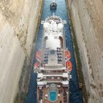 seadream cruise ship in the corinth canal