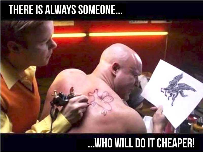 Tatto artist with funny text.