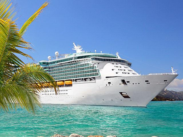 Cruise ship moored in the Caribbean.