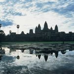 Angkor Wat in Siem Reap at dusk.