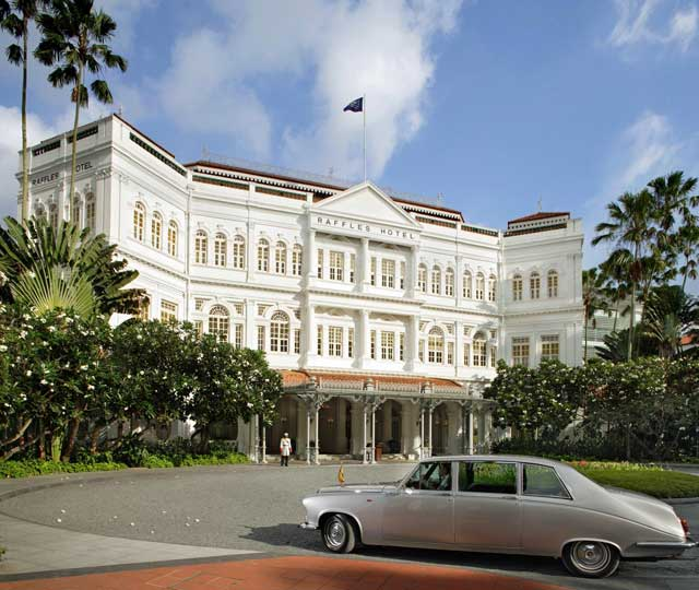 Main entrance to the iconic and legendary Raffles Hotel in Singapore.