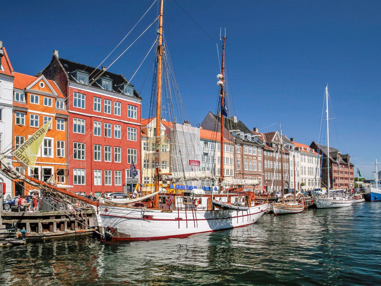 This is charming Nyhavn in Copenhagen, Denmark