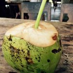 Fresh coconut water, right out of the nut in Ubud, Bali.
