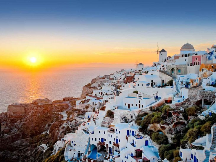 Sunset in the Cyclades, Greece.