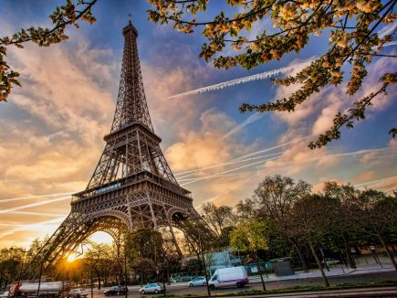 The Eiffel Tower in Paris at sunrise.