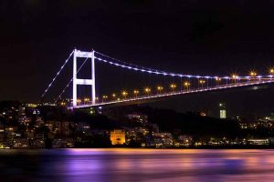 One of the bridges over the Bosporus connect Europe with Asia.