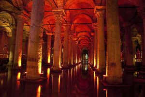 The ancient cisterns in Istanbul.