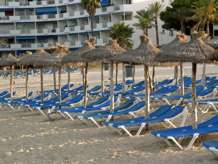 Sun chairs on Santa Ponsa Beach, Mallorca.