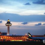 Changi Airport at dusk.