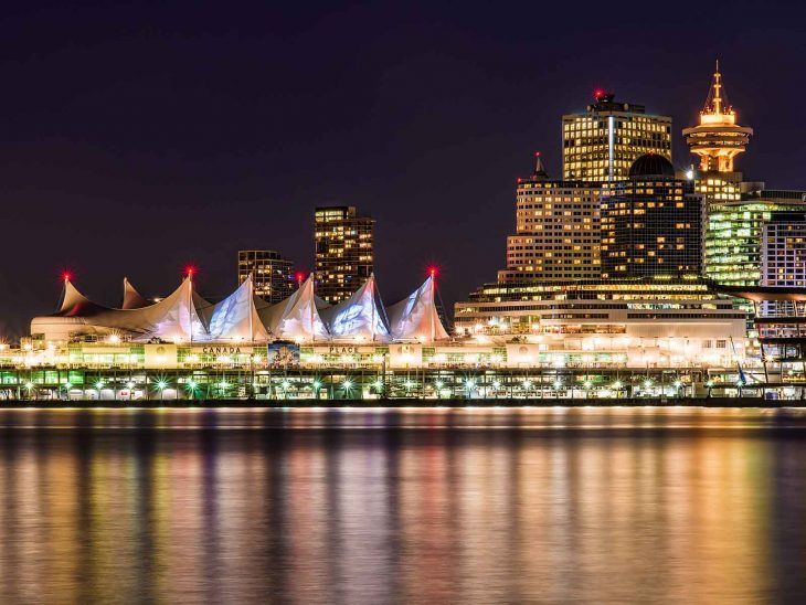 Canada Place in Vancouver at night.