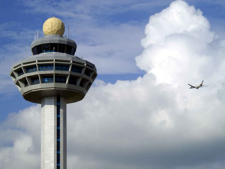 Singapore Changi Airport control tower.