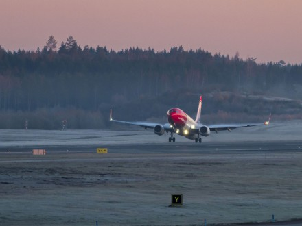 Norwegian Boeing 737 taking off.