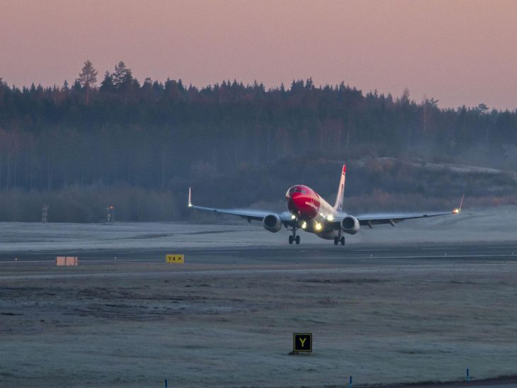 Norwegian Boeing 737 taking off.