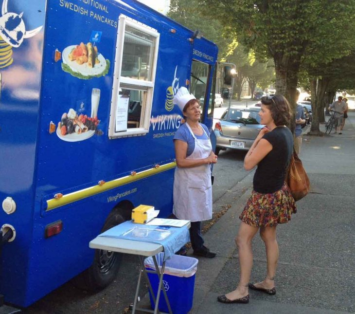 """Birgitta """"Bee"""" Andersson is discussion Swedish pancakes in fron of her food truck in Vancouver."""