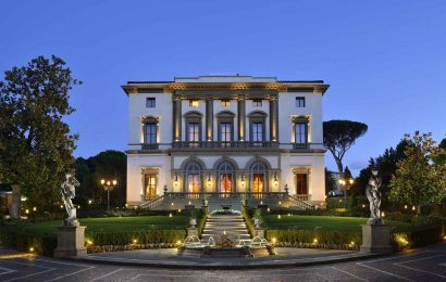 The facade of spectacular Villa Cora in Florence.