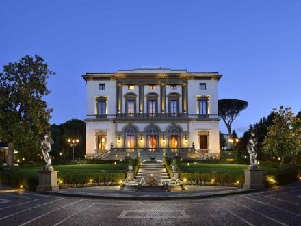 The facade of spectacular Villa Cora in Florence.