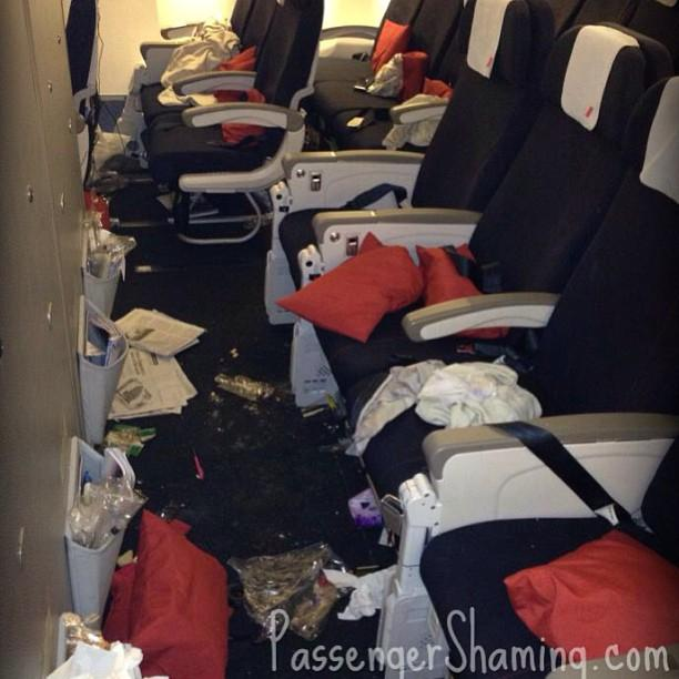 messy airplane cabin.