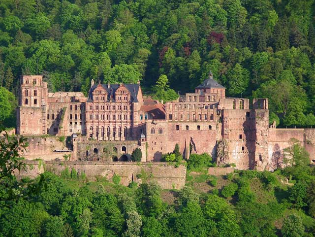 Heidelberg Castle is overlooking the city of Heidelberg.