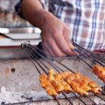 Meat skewers is typical Marrakech street food.