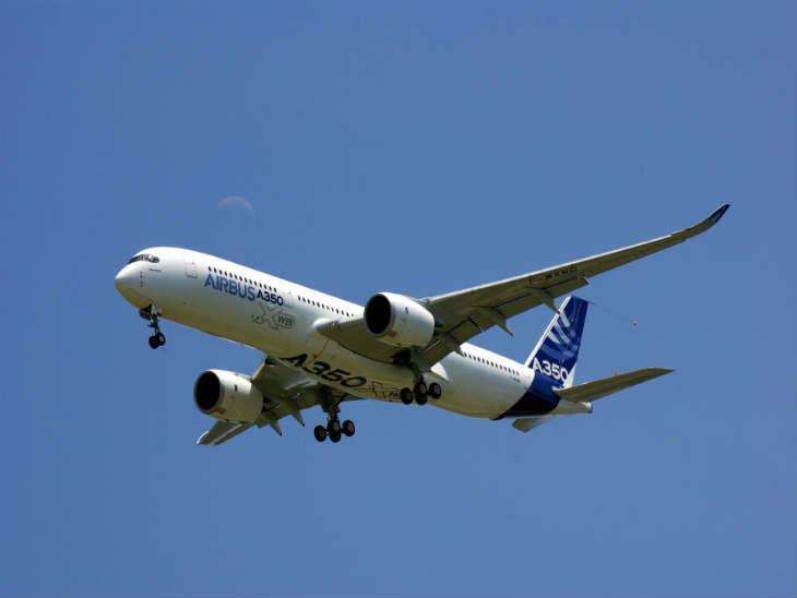 A350-900 on a low pass on its maiden flight.