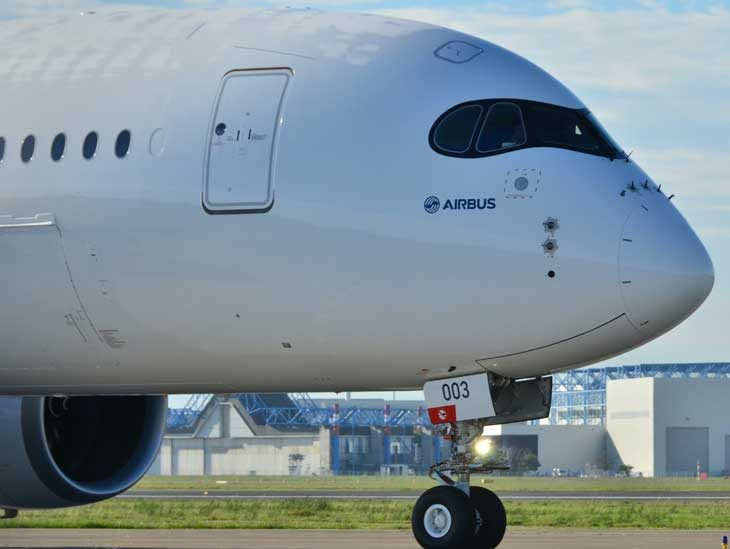 A350 with its characteristic nose.
