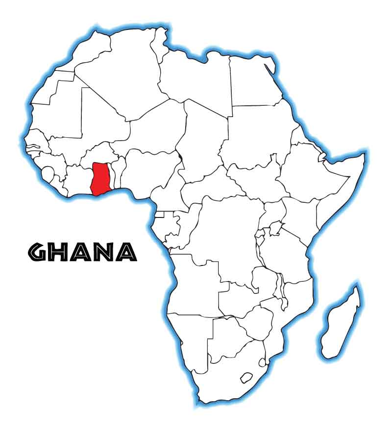 Map of Africa with Ghana highlighted.