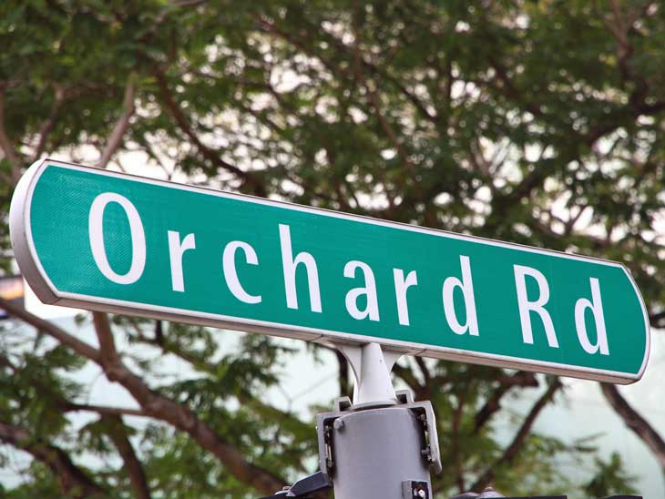 Orchard Road sign in Singapore.