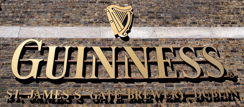Guinness sign at the factory in Dublin.