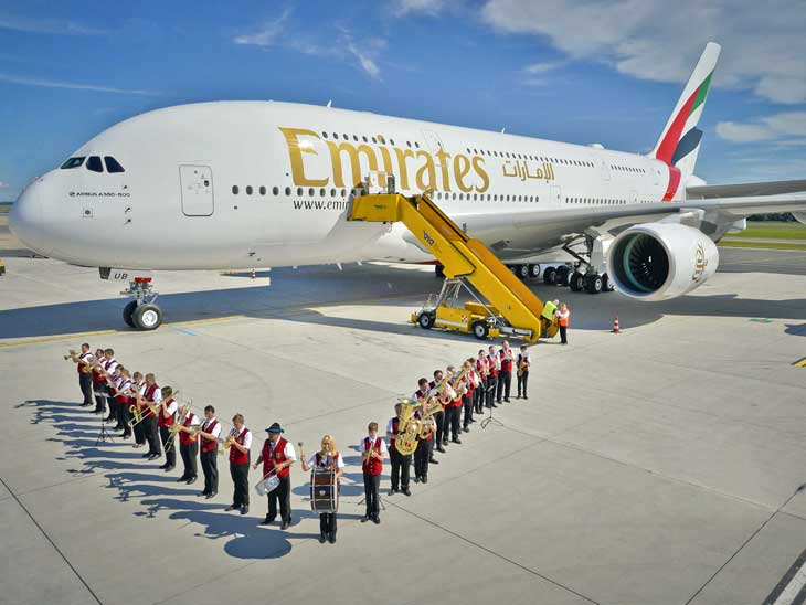 Emirates A380 greeted upon arrival in Vienna.