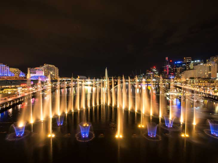 Darling Harbour, Sydney during Vivid Lights.