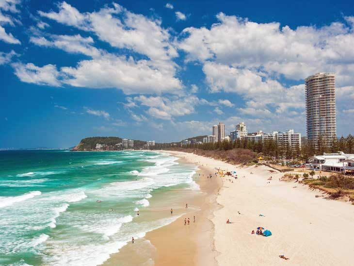 The beach in Gold Coast, Australia.