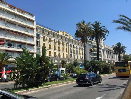 Facade of Hotel Le Royal Promenade in Nice.