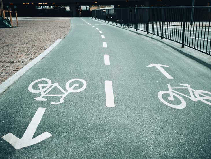 Bike lanes in the city.