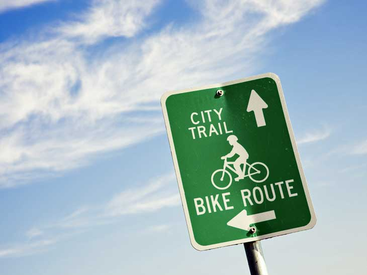 There are excellent bike routes in many cities.