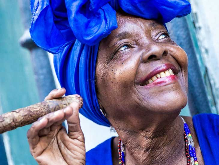 Cuban woman with a huge cigar.