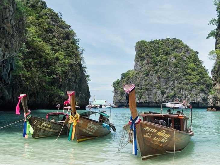 Long tail boat Thai airchipelago.