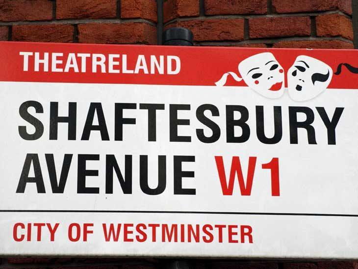 Shaftesbury Avenue street sign.