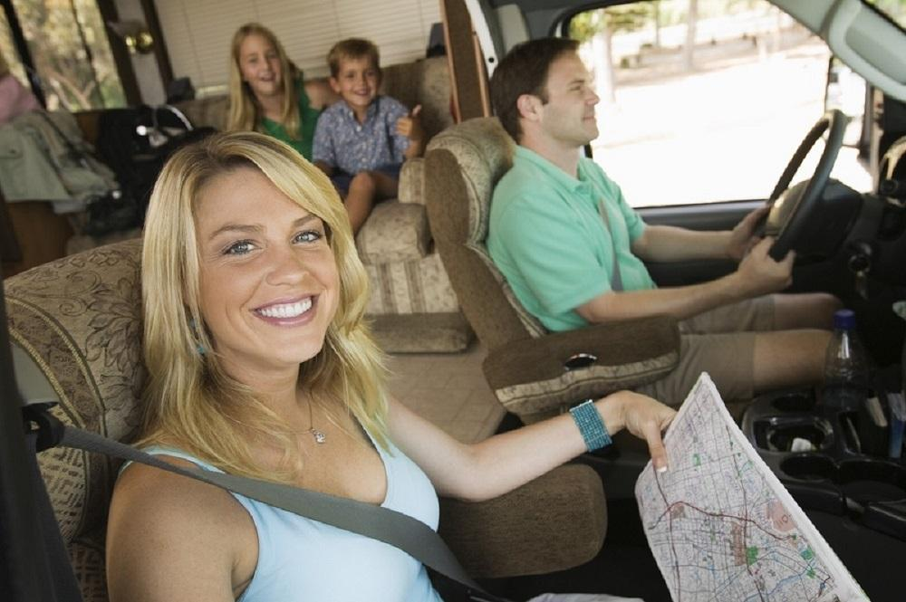 Family on a caravan adventure.