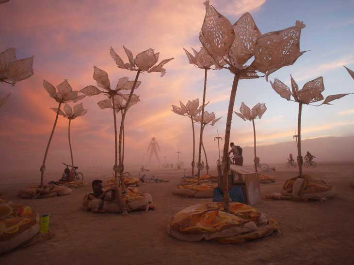 Burning Man is a festival in the desert in Nevada where Black Rock City is created for the occassion.