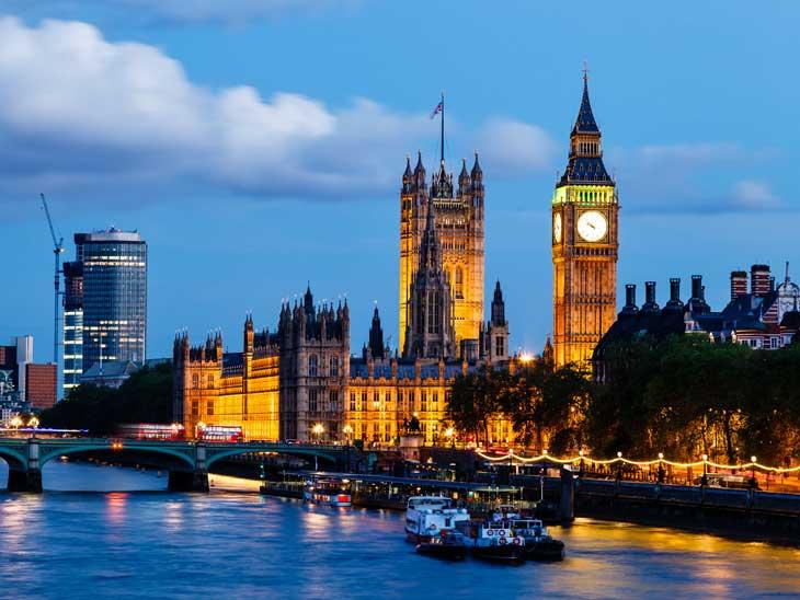Big Ben and Westminster Bridge in the Evening, London, UK.