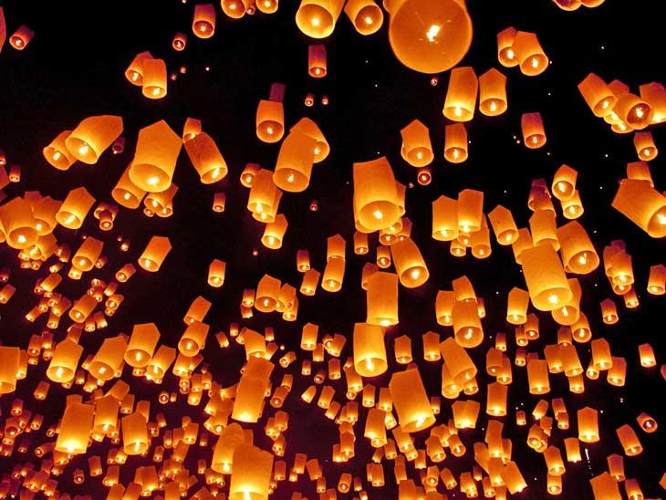 Pingxi Lantern Festival in Taipei, Taiwan.