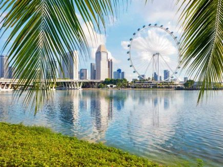 Singapore skyline with palms in front.