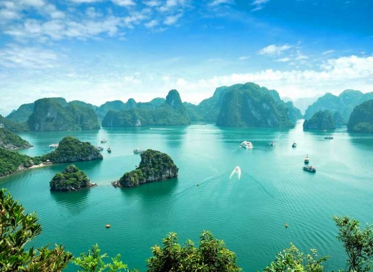 UNESCO World Heritage Site Halong Bay in Vietnam.