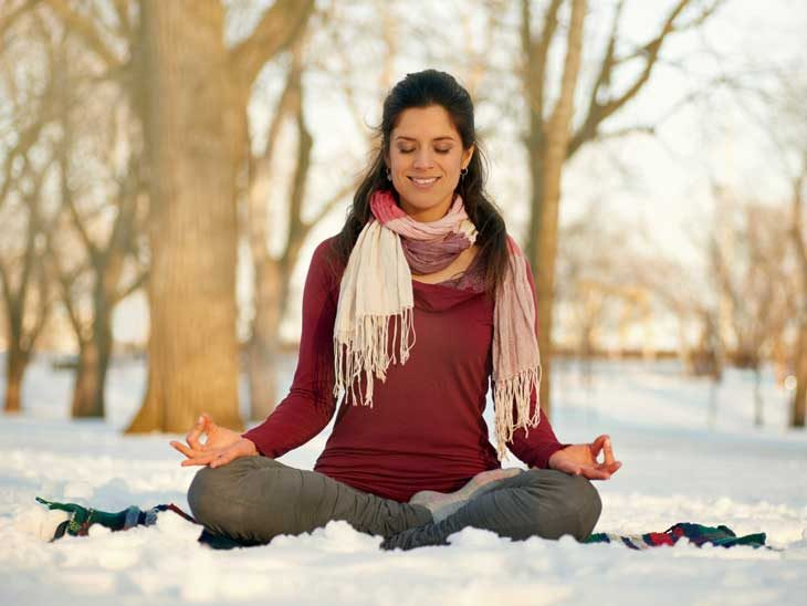 Yoga in winter.