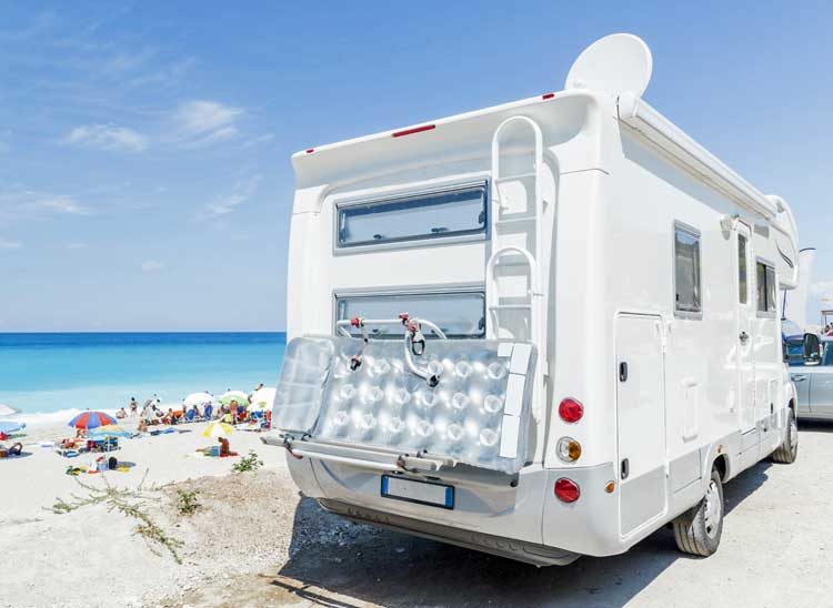 Campervan on the beach.
