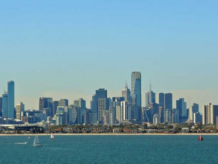 Melbourne skyline from the sea.