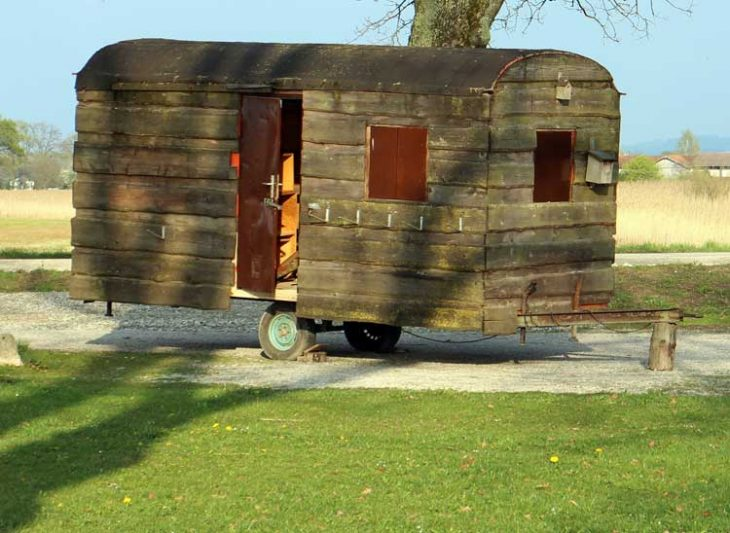 Wooden caravan.